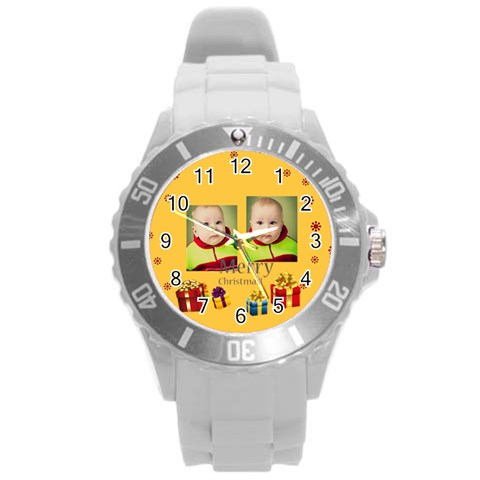 Merry Christmas By Xmas   Round Plastic Sport Watch (l)   Vghouwzgry2b   Www Artscow Com Front