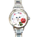 WHITE KITTEN RED ROSE CUSTOM ROUND ITALIAN CHARM WATCH