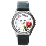 WHITE KITTEN & RED ROSE CUSTOM UNISEX LEATHER WATCH