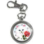 WHITE KITTEN RED ROSE CUSTOM KEY CHAIN POCKET WATCH