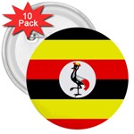 Uganda Flag 3  Button (10 pack)