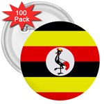 Uganda Flag 3  Button (100 pack)