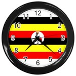 Uganda Flag Wall Clock (Black)