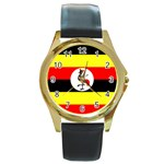 Uganda Flag Round Gold Metal Watch