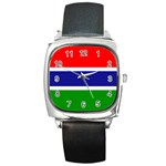 Gambia Flag Square Metal Watch