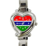 Gambia Flag Heart Italian Charm Watch