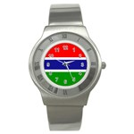 Gambia Flag Stainless Steel Watch