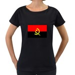 Angola Flag Maternity Black T-Shirt