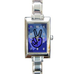 Peace Rectangular Italian Charm Watch