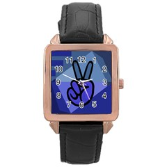 Peace Rose Gold Leather Watch