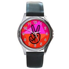 Love Peace Round Leather Watch (silver Rim)