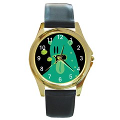 Monster Round Leather Watch (gold Rim)  by Contest1771913