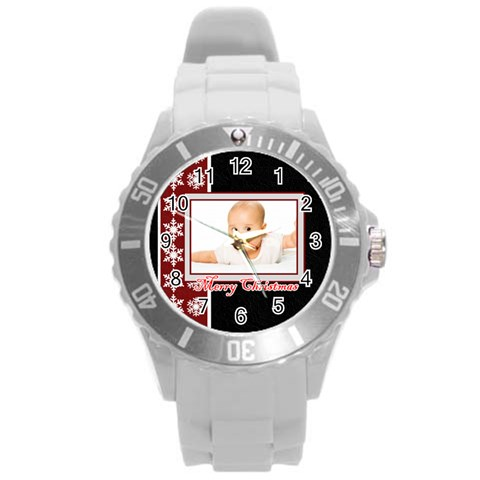 Merry Chrismas By Wood Johnson   Round Plastic Sport Watch (l)   Okn2oipzrp6f   Www Artscow Com Front