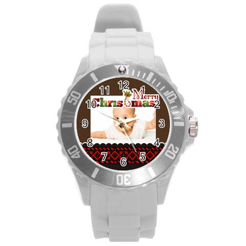 Merry Chrismas By Wood Johnson   Round Plastic Sport Watch (l)   Y6g5i1l3q84v   Www Artscow Com Front