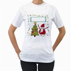 Merry Christmas Women T Shirt By Zornitza   Women s T Shirt (white) (two Sided)   Zkbt39ipy398   Www Artscow Com Front