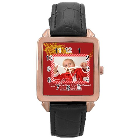 Merry Christmas By Man   Rose Gold Leather Watch    Bsg2h2xo28mg   Www Artscow Com Front