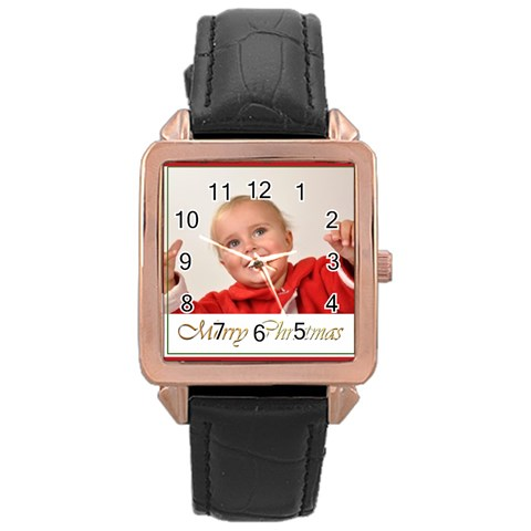Merry Christmas By Man   Rose Gold Leather Watch    Lyb8itjrep1l   Www Artscow Com Front
