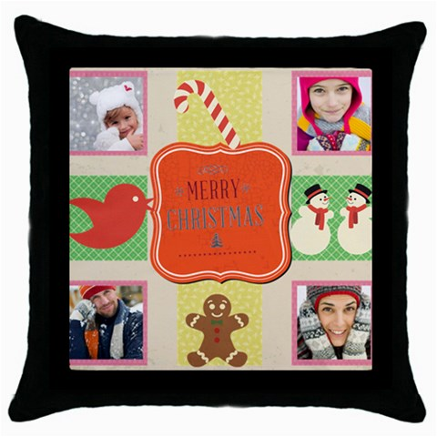 Merry Christmas By Merry Christmas   Throw Pillow Case (black)   70kok2fsab5b   Www Artscow Com Front