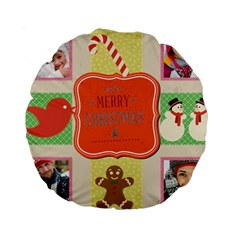 Merry Christmas By Merry Christmas   Standard 15  Premium Round Cushion    Ivag8004wiop   Www Artscow Com Front