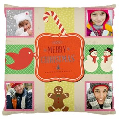 Merry Christmas By Merry Christmas   Large Cushion Case (two Sides)   Mw6o8lxonadm   Www Artscow Com Back