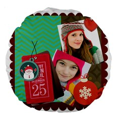 Merry Christmas By Merry Christmas   Large 18  Premium Round Cushion    Zwt6bc6stz10   Www Artscow Com Front
