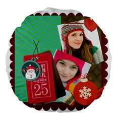 Merry Christmas By Merry Christmas   Large 18  Premium Round Cushion    Zwt6bc6stz10   Www Artscow Com Back
