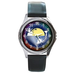 Fishing Dead Round Leather Watch (silver Rim) by Contest1763580