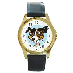 Danny Dog Round Leather Watch (Gold Rim)  by Contest1738792