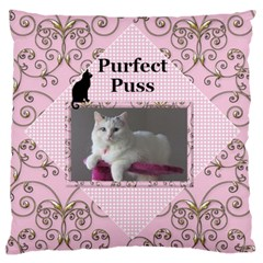 Perfect Puss Large Cushion Case (2 Sided) By Deborah   Large Cushion Case (two Sides)   Y3l5748qxufp   Www Artscow Com Back