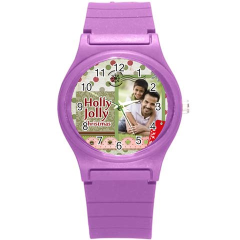 Merrry Christmas By Joely   Round Plastic Sport Watch (s)   Dl8lfyhbt4ha   Www Artscow Com Front