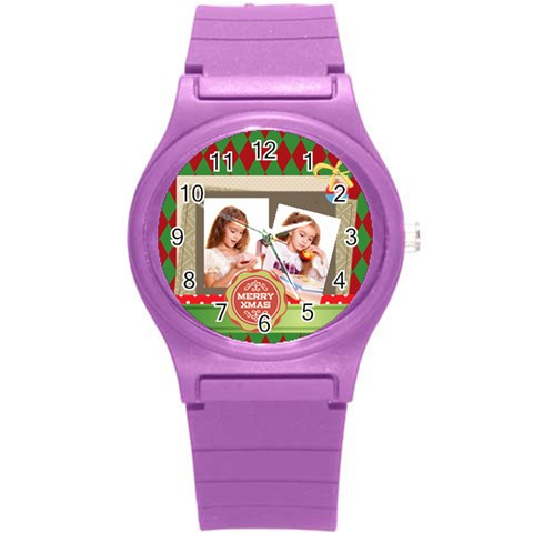 Merrry Christmas By Joely   Round Plastic Sport Watch (s)   Qy4jo97nvocb   Www Artscow Com Front