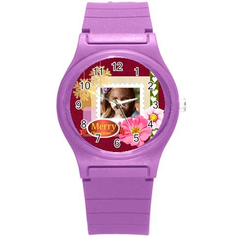 Merrry Christmas By Joely   Round Plastic Sport Watch (s)   D7odww6sqed6   Www Artscow Com Front