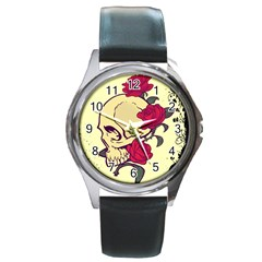 Skeleton Round Leather Watch (silver Rim) by Contest1704393