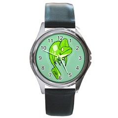 Lucky Lizard Round Leather Watch (silver Rim) by Contest1780262
