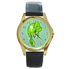 Lucky Lizard Round Leather Watch (Gold Rim)  by Contest1780262