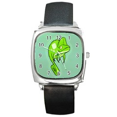 Lucky Lizard Square Leather Watch