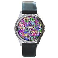 Fantasy Round Leather Watch (silver Rim) by Siebenhuehner