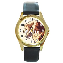 Bear Time Round Leather Watch (gold Rim)  by Contest1780262