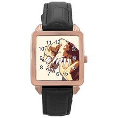 Bear Time Rose Gold Leather Watch  by Contest1780262