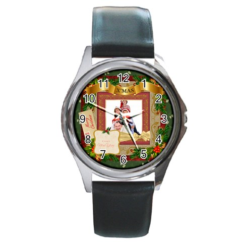 Merry Christmas By Betty   Round Metal Watch   Lf6ytqpzpehc   Www Artscow Com Front