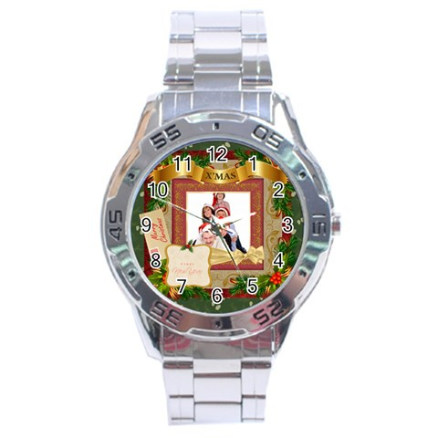 Merry Christmas By Betty   Stainless Steel Analogue Watch   B4z15jvny309   Www Artscow Com Front