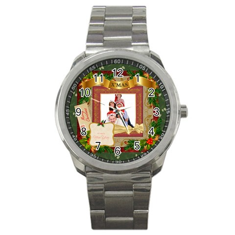 Merry Christmas By Betty   Sport Metal Watch   Jdmnq0aj14ci   Www Artscow Com Front