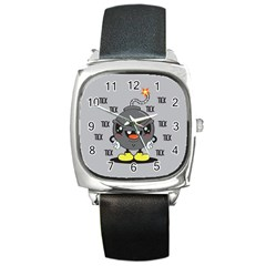 Time Bomb Square Leather Watch by Contest1771648