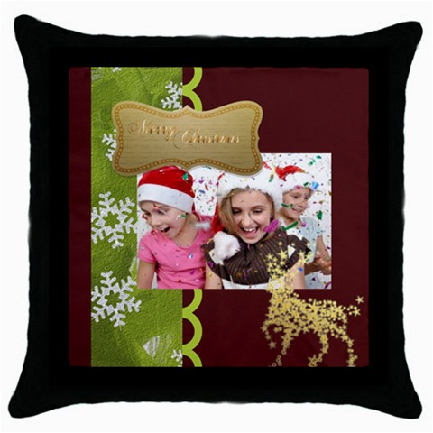 Merry Christmas By M Jan   Throw Pillow Case (black)   25uxzcqfcstj   Www Artscow Com Front