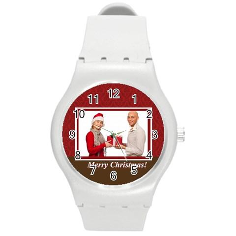 Xmas By Man   Round Plastic Sport Watch (m)   Lc779z45wuxw   Www Artscow Com Front