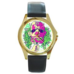 Bozo Zombie Round Leather Watch (Gold Rim)  by Contest1731890