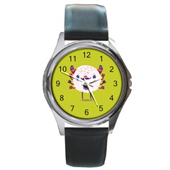 Moshi watch Round Leather Watch (Silver Rim) by Contest1771913