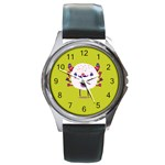Moshi watch Round Leather Watch (Silver Rim) Front