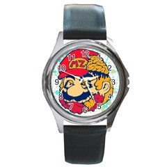 mario zombie Round Leather Watch (Silver Rim) by Contest1731890