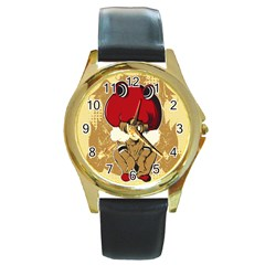 Flan Round Leather Watch (gold Rim)  by DesignsbyReg2